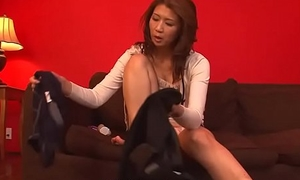 Mature brunette rubbing her cunt in the air succeed in off perfectly