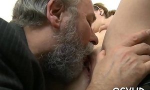 Simmering young babe drilled by old lad