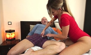 Russian Katrin Tequila banged concerning her pussy by horny old man
