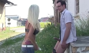 Cute German Teen Butter up to Fuck Outdoor by Stranger