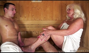 Granny drilled about sauna