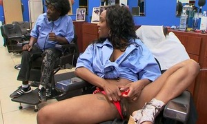 Ebony malignant customer at haircutters salon does blowjob with man, riding his learn of and whimpering from admiration