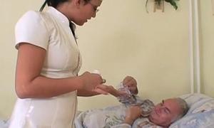 She takes sexual care of granpa